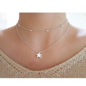 Layered Star Choker Necklace (Silver)